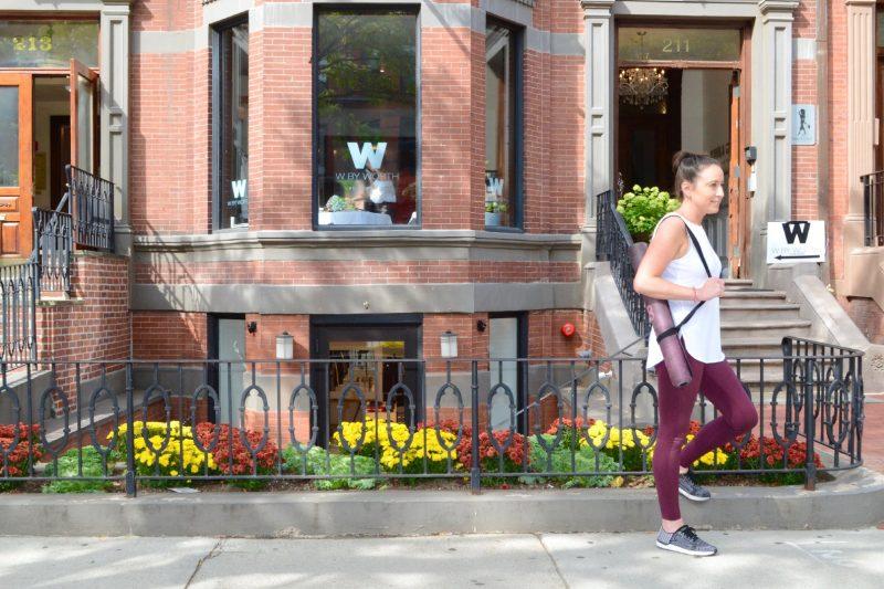 Peach yoga pants on Newbury Street