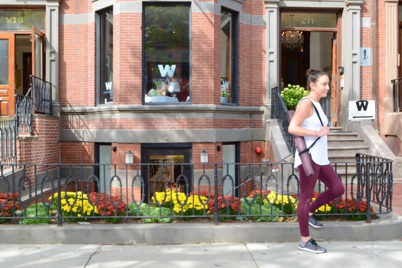Peach yoga pants on Newbury Street